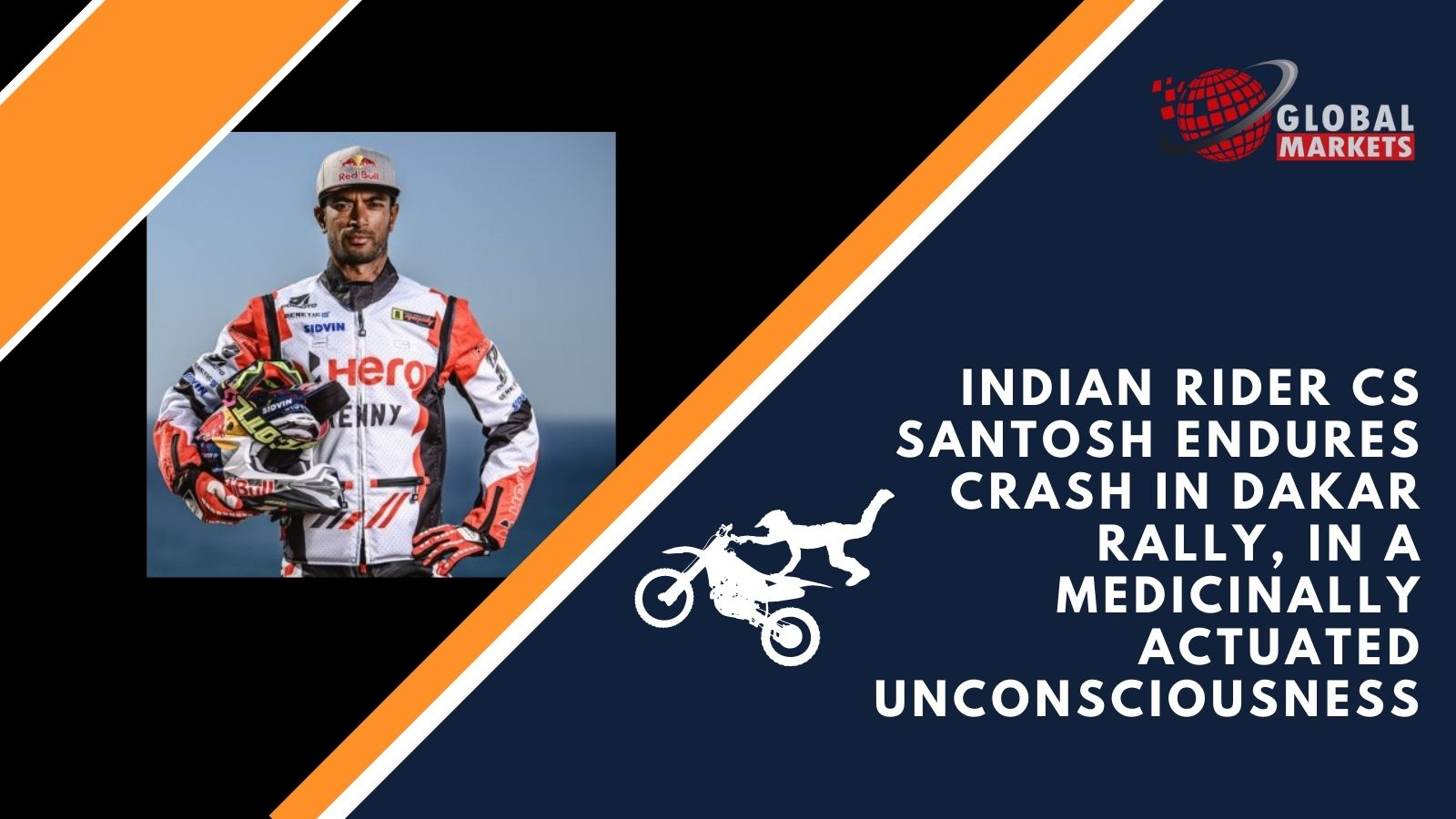 Indian rider CS Santosh endures crash in Dakar Rally, in a medicinally actuated unconsciousness