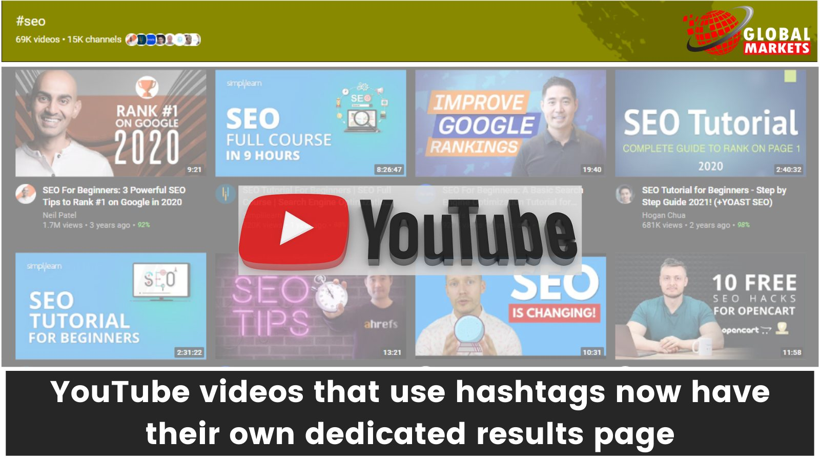 YouTube videos that use hashtags now have their own dedicated results page