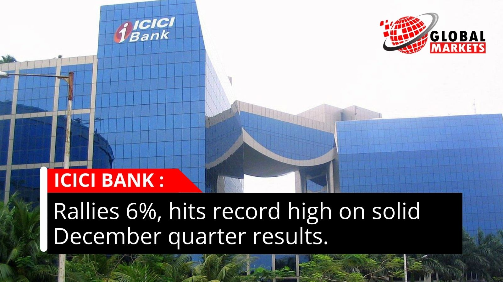 ICICI Bank rallies 6%, hits record high on solid December quarter results.