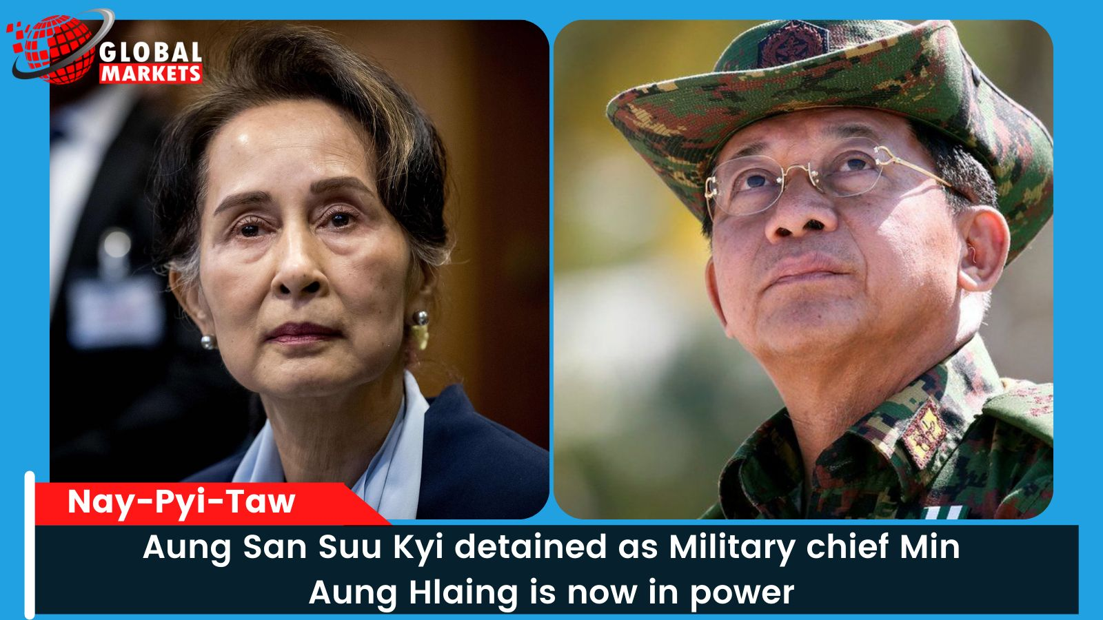 Aung San Suu Kyi detained as Military chief Min Aung Hlaing is now in power
