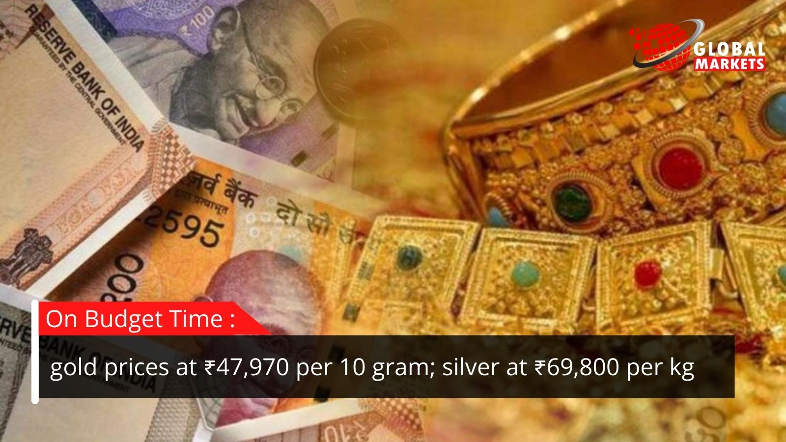 On Budget: gold costs at Rs.47,970 per 10 gram and silver at Rs.69,800 per kg