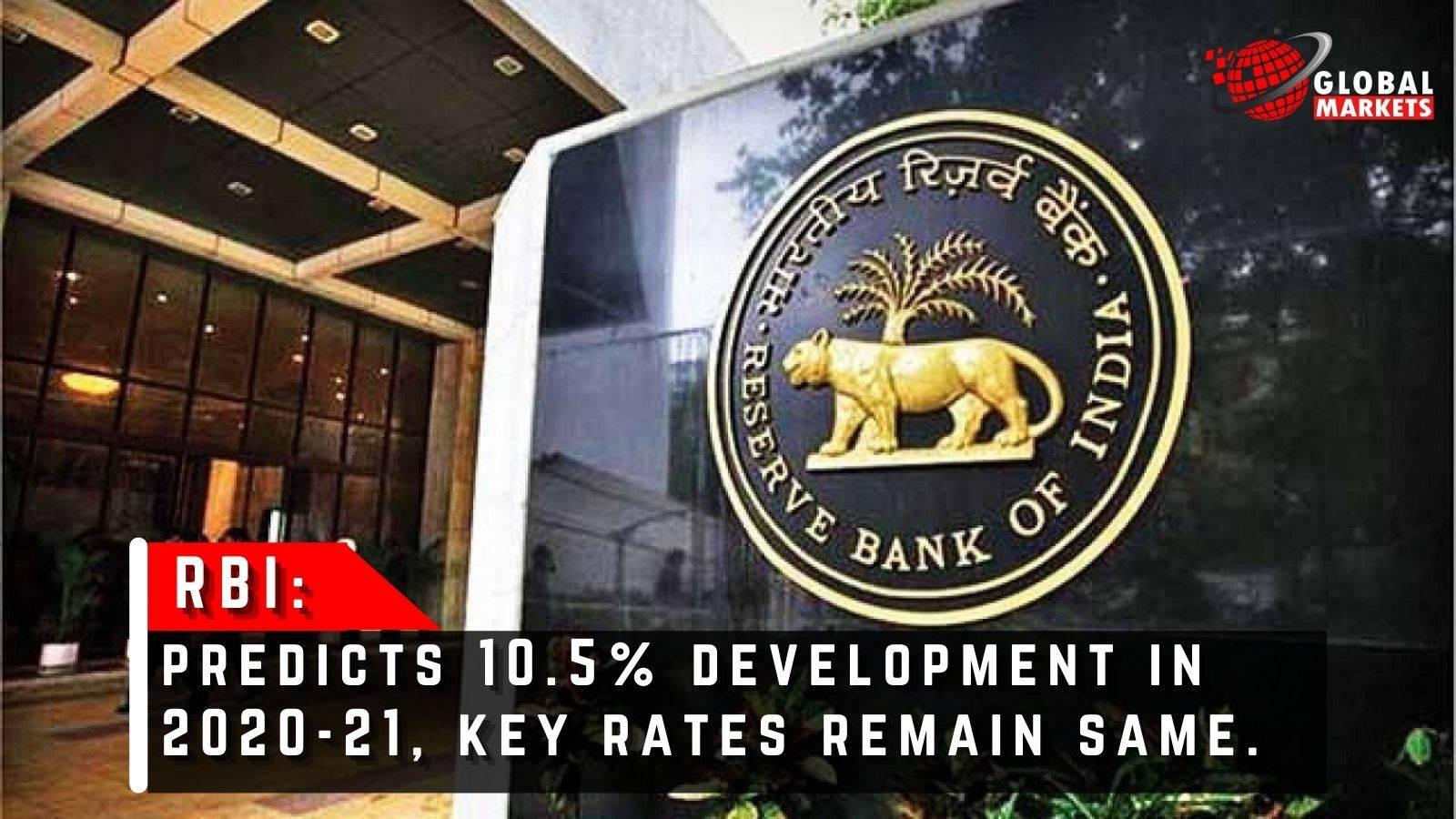 RBI Predicts 10.5% Development In 2020-21, Key Rates Remain Same