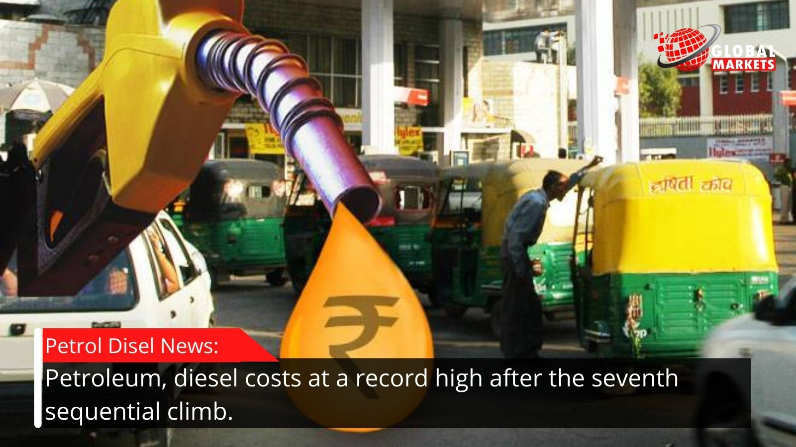 Petroleum, diesel costs at a record high after the seventh sequential climb.