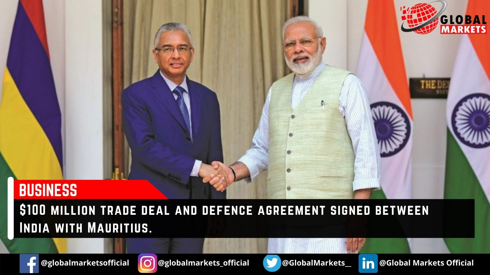 $100 million trade deal and defence agreement signed between India with Mauritius