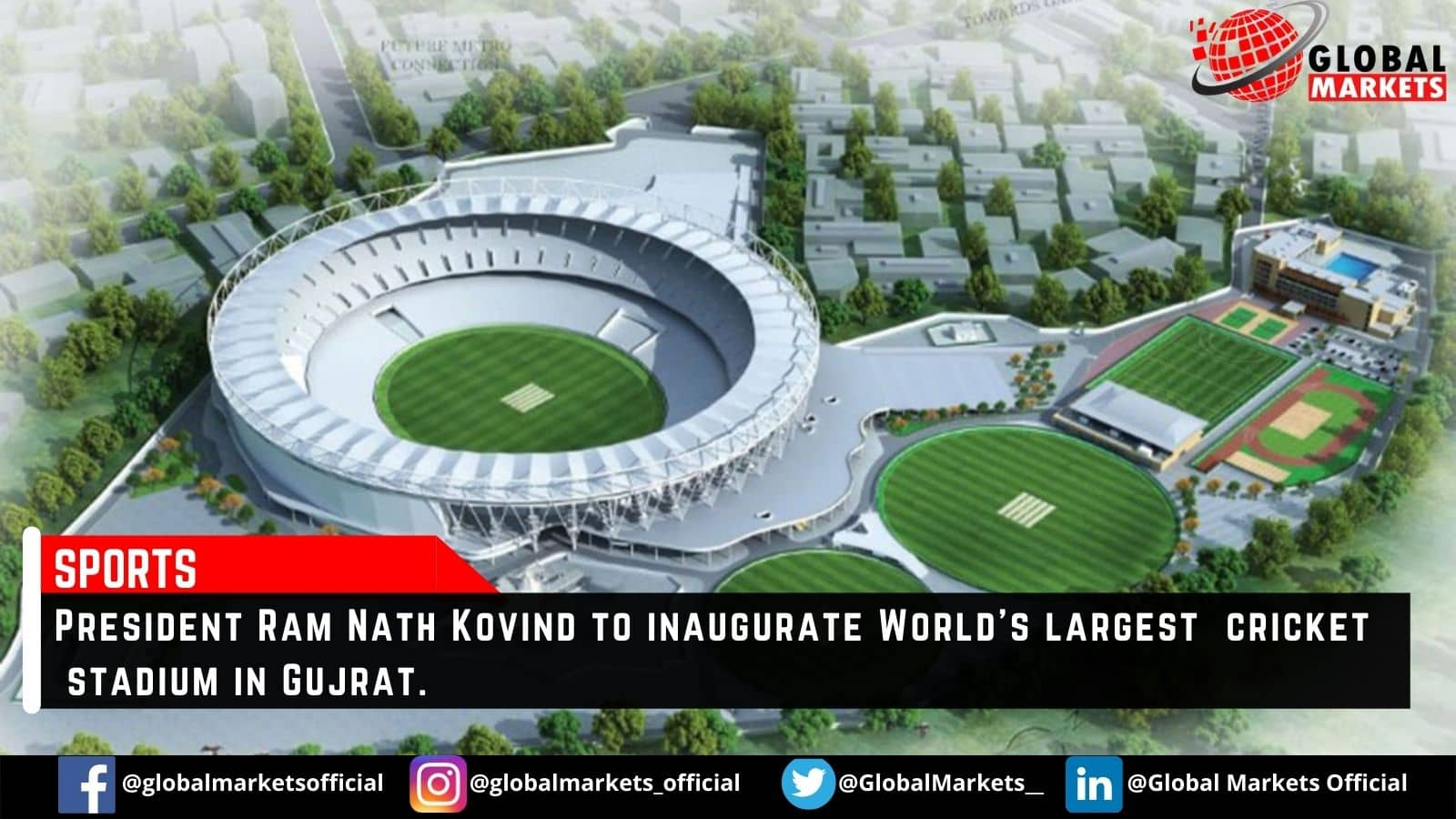 World's largest cricket stadium in Gujrat to be inaugurated today by President Ram Nath Kovind