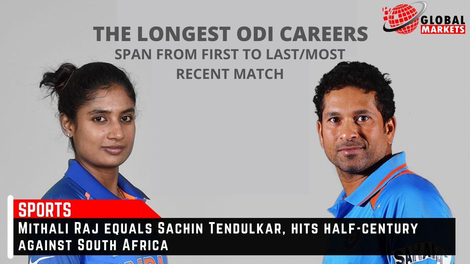 Mithali Raj equals Sachin Tendulkar, hits half-century against SA