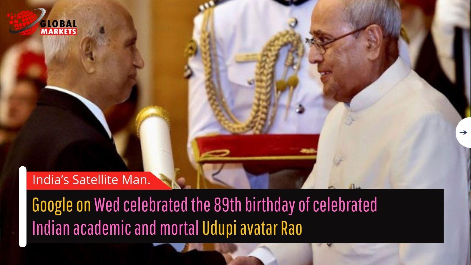Google Doodle honours 'India's Satellite Man' Udupi Ramachandra Rao